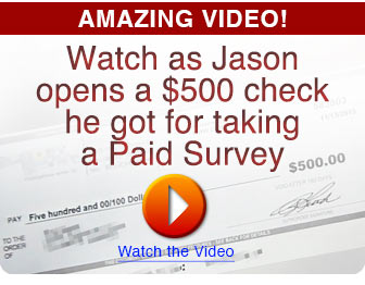 Jason opens a $500 check for taking a survey
